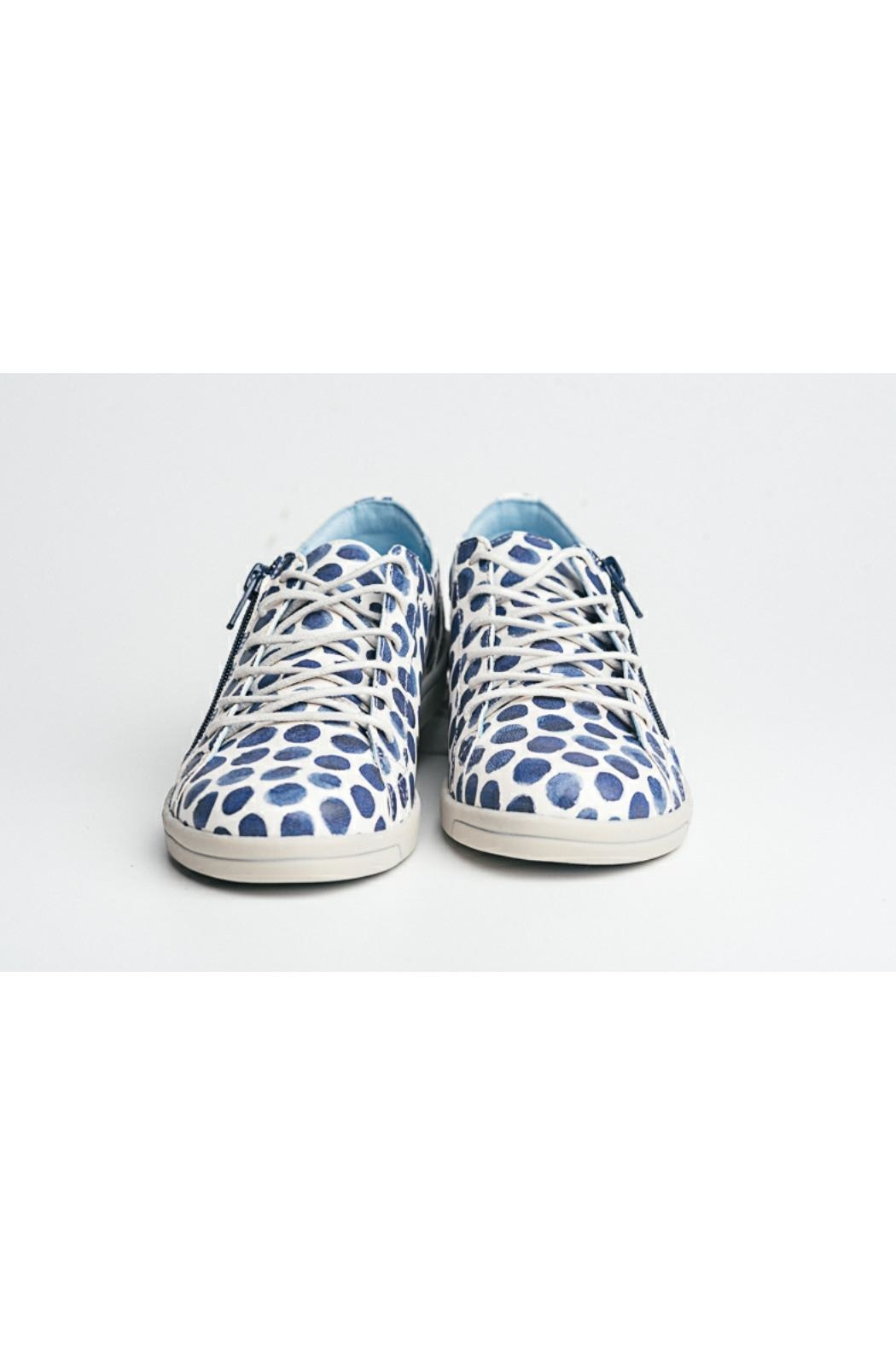 Cloud Print Leather Sneaker - Back Cropped Image