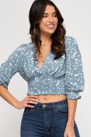Cloudwalk Printed Woven Surplice Top With Smocked Waistband - Product Mini Image