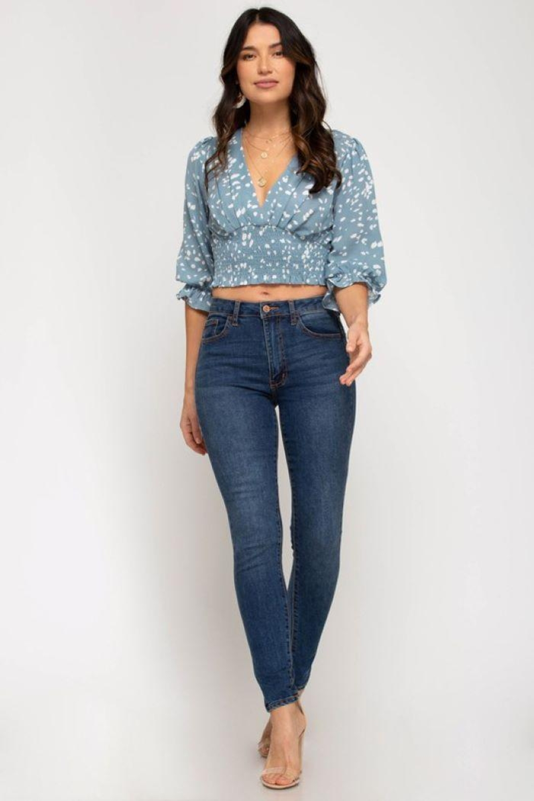Cloudwalk Printed Woven Surplice Top With Smocked Waistband - Side Cropped Image