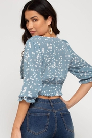 Cloudwalk Printed Woven Surplice Top With Smocked Waistband - Back cropped