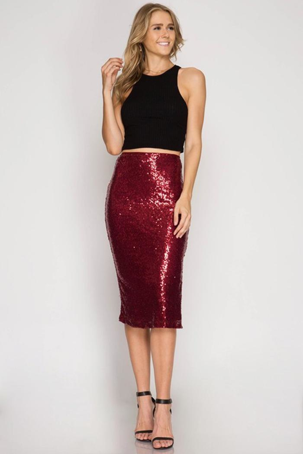 Cloudwalk Sequin Pencil Skirt - Front Cropped Image