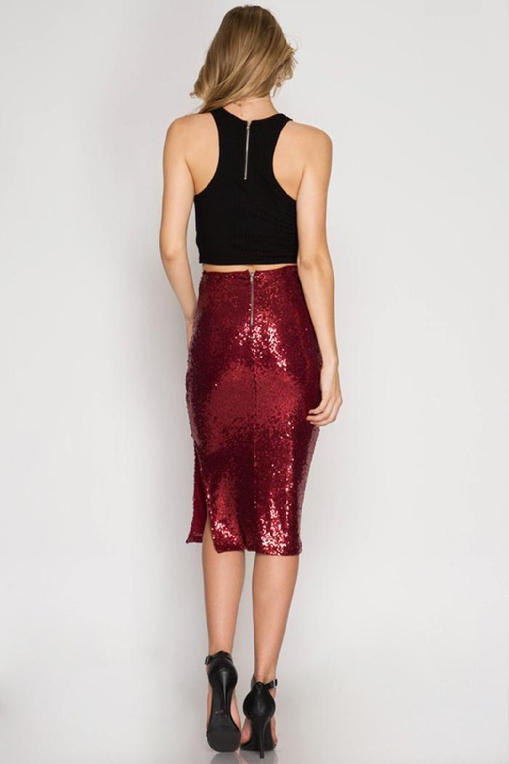 Cloudwalk Sequin Pencil Skirt - Front Full Image