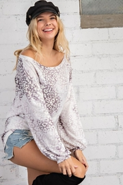 143 Story Cloudy Leopard Boat Neck Top - Front full body