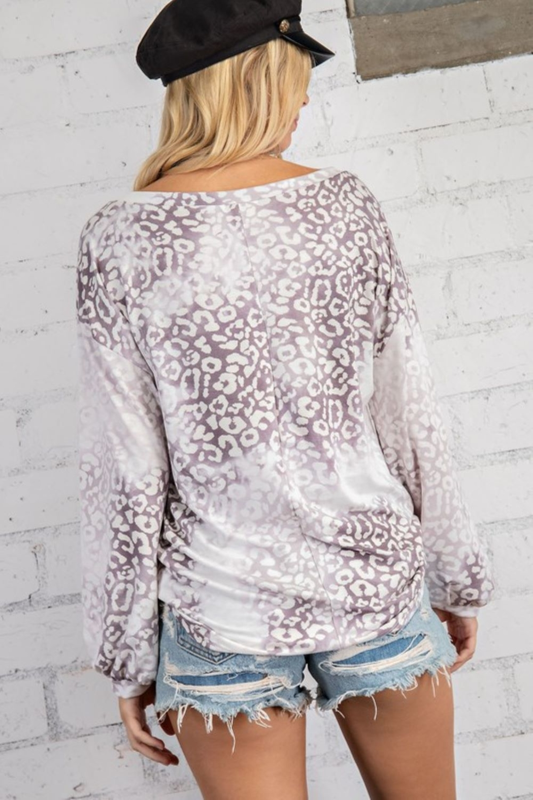 143 Story Cloudy Leopard Boat Neck Top - Side Cropped Image