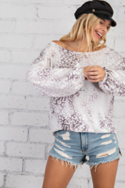 143 Story Cloudy Leopard Boat Neck Top - Front cropped