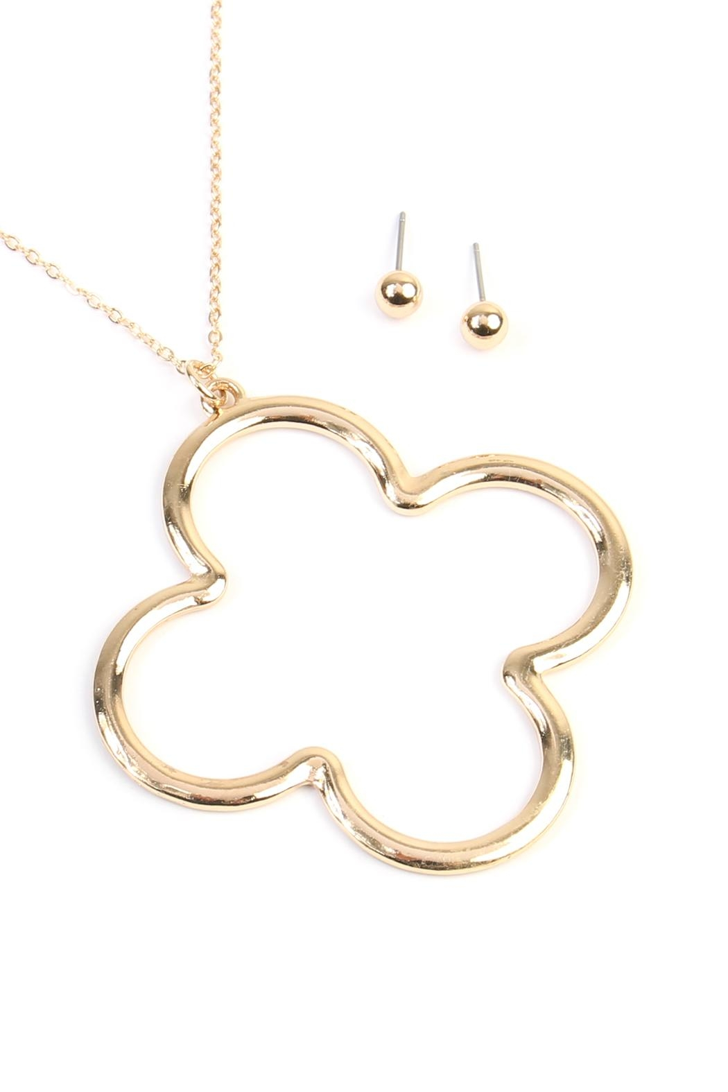 Riah fashion clover pendant necklace from california shoptiques riah fashion clover pendant necklace front full image aloadofball Image collections