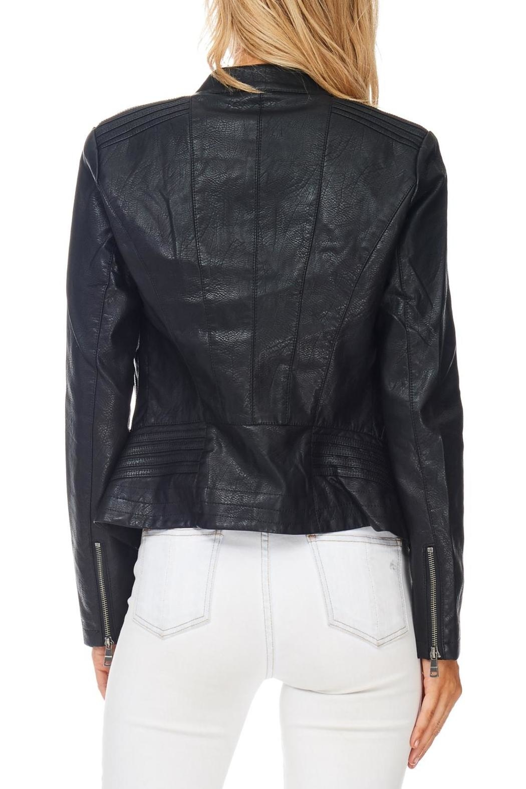 Coalition Black Vegan Leather Jacket - Side Cropped Image