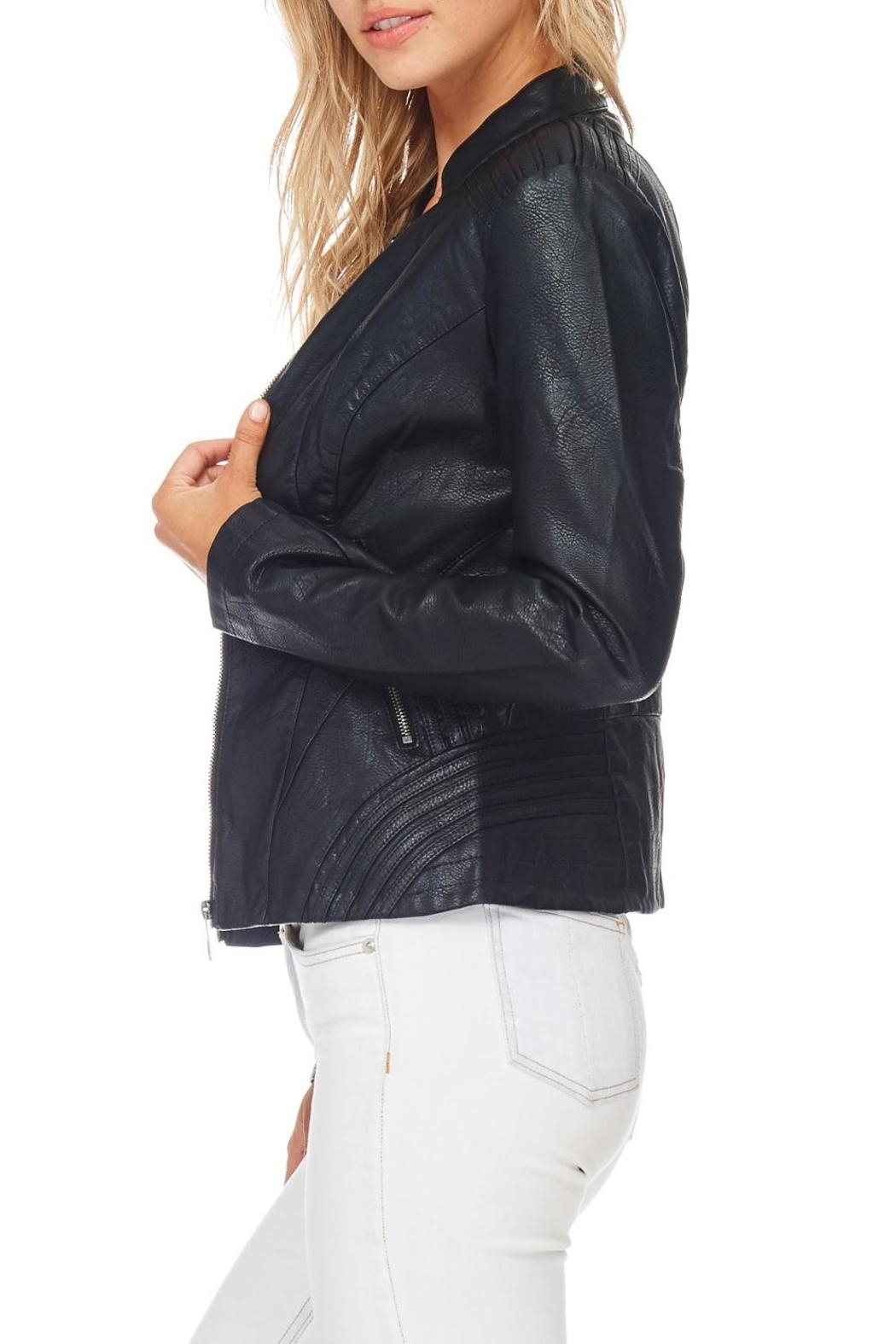 Coalition Black Vegan Leather Jacket - Back Cropped Image