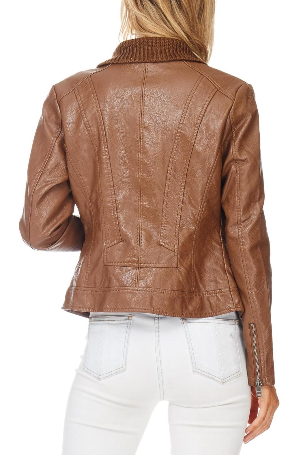 Coalition Moto Vegan Leather Jacket - Side Cropped Image