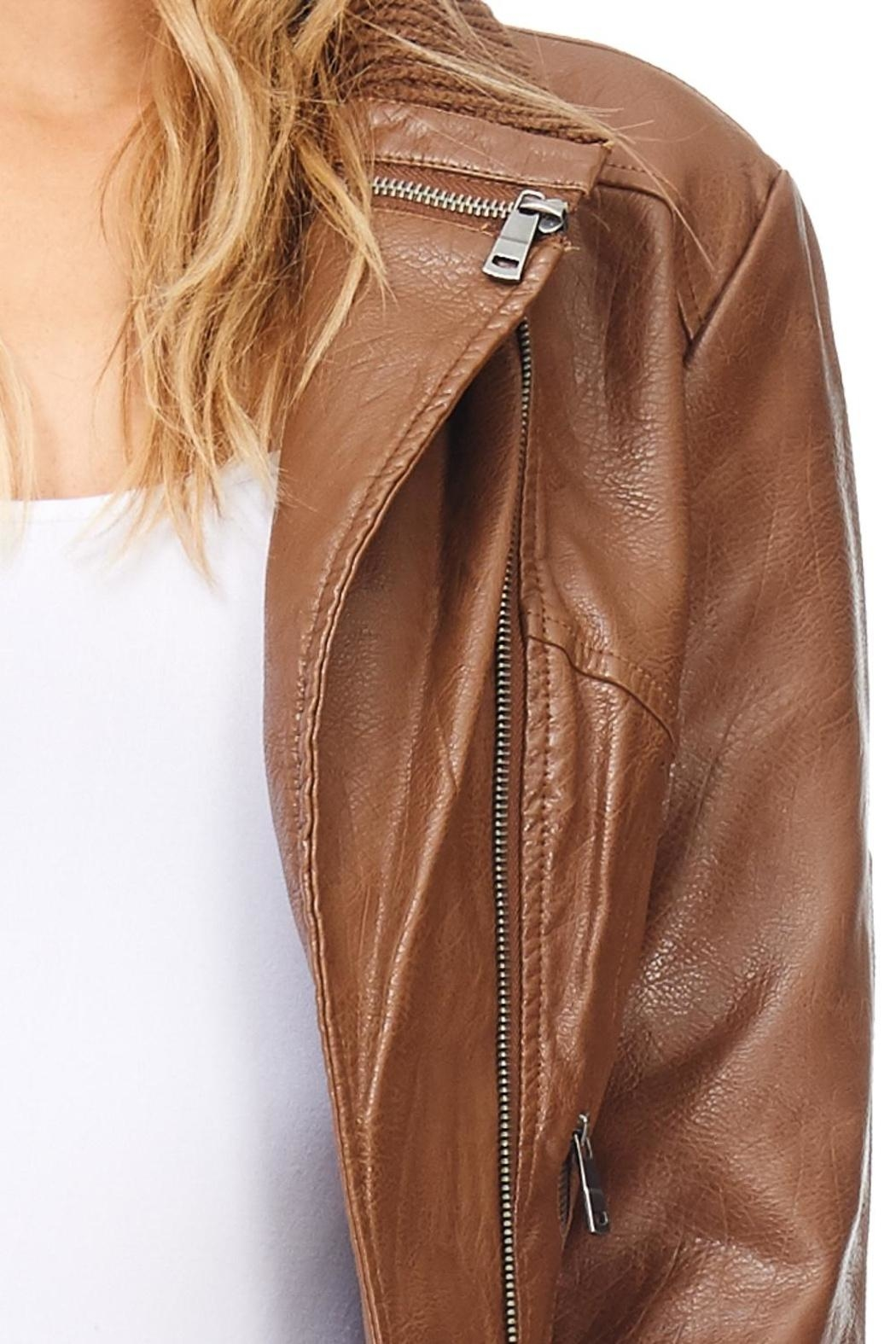 Coalition Moto Vegan Leather Jacket - Back Cropped Image