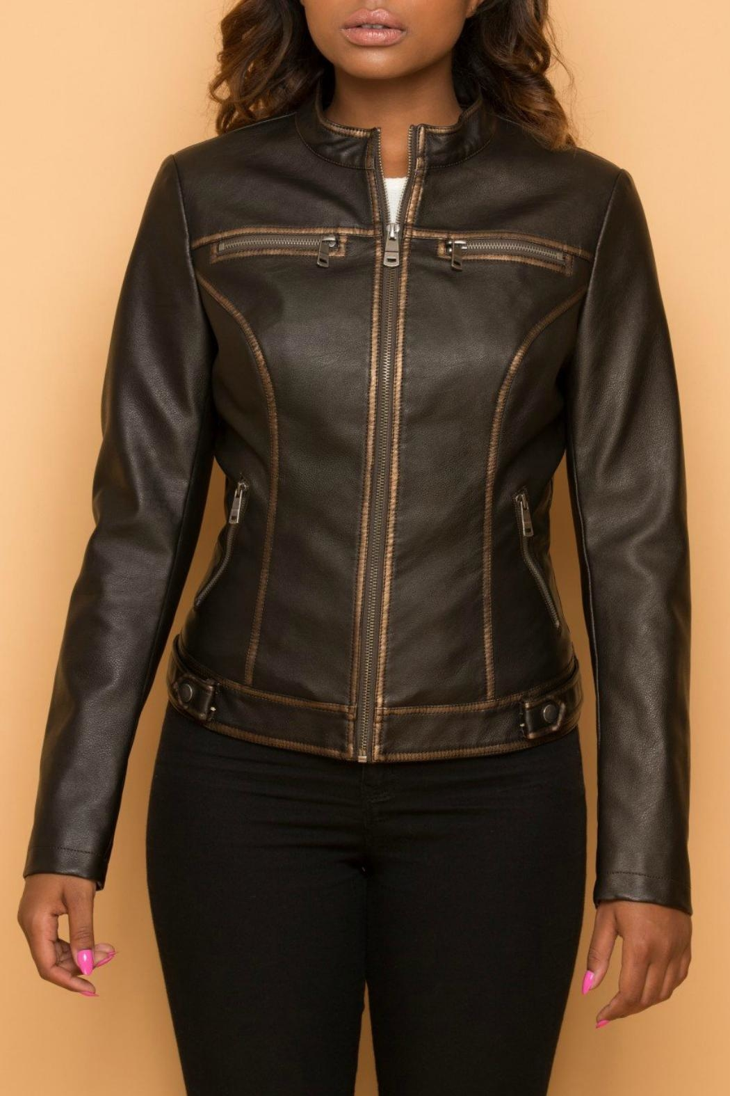 Coalition Faux Zippered Metallic Jacket - Front Cropped Image