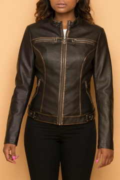 Coalition Faux Zippered Metallic Jacket - Product List Image