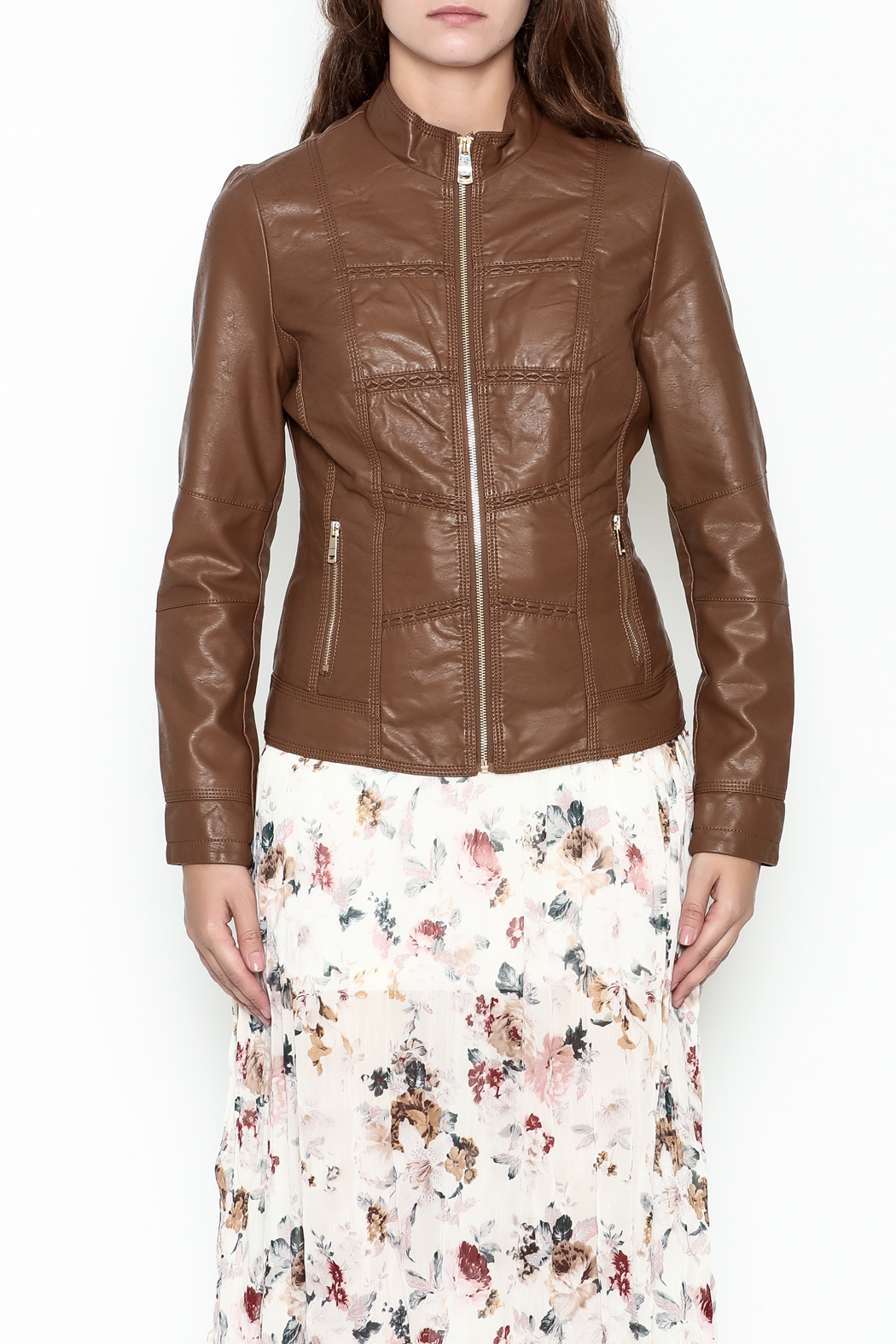 Coalition Leather Look Jacket - Front Full Image
