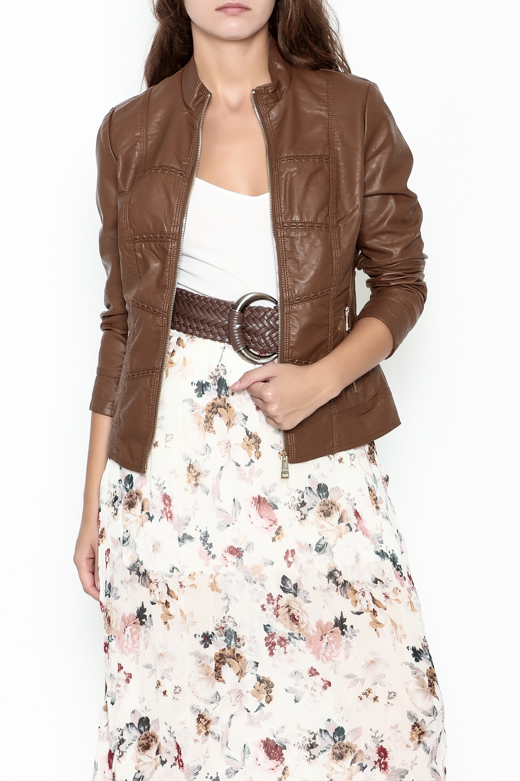 Coalition Leather Look Jacket - Front Cropped Image