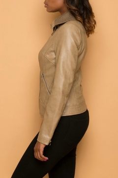 Coalition Beige Vegan Leather Jacket - Alternate List Image