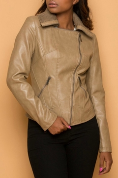 Coalition Beige Vegan Leather Jacket - Product List Image
