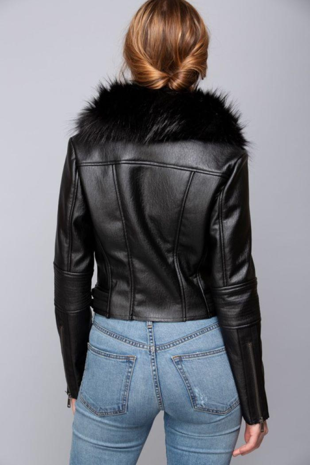 Coalition Vegan Leather Jacket With Fur - Front Full Image