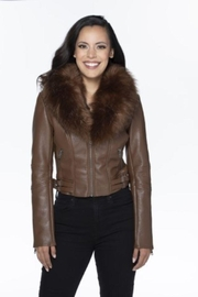 Coalition Vegan Leather Jacket With Fur - Front cropped