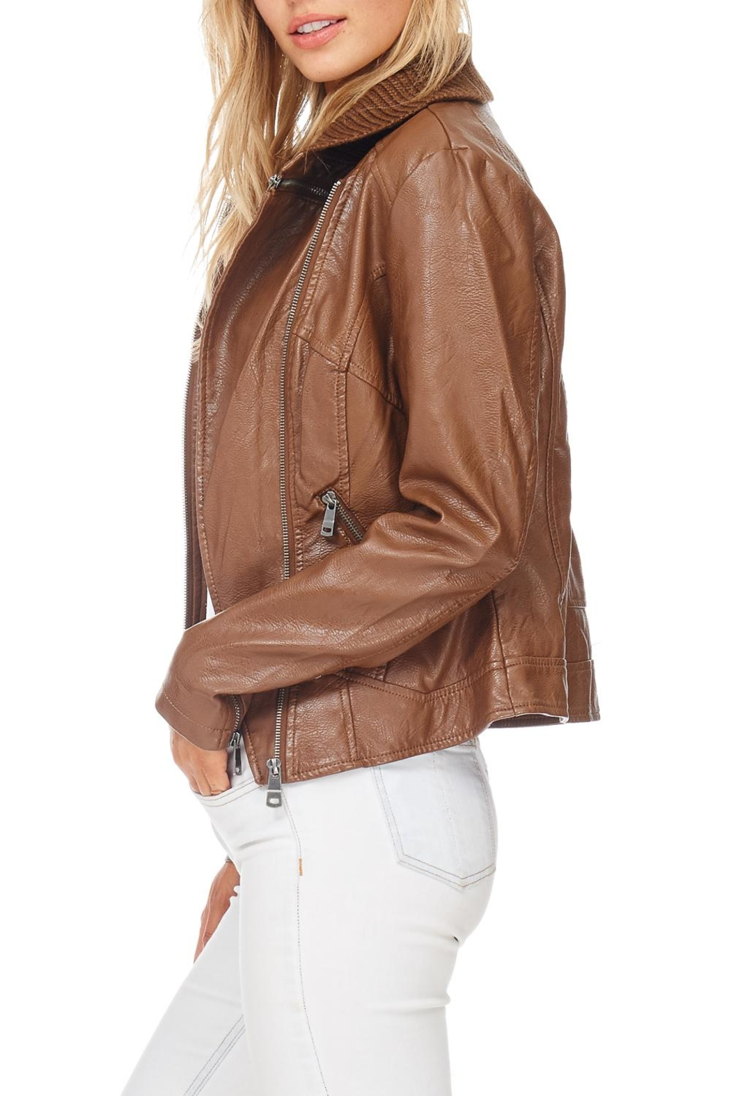 Coalition Downtown Moto Faux Leather Jacket - Back Cropped Image