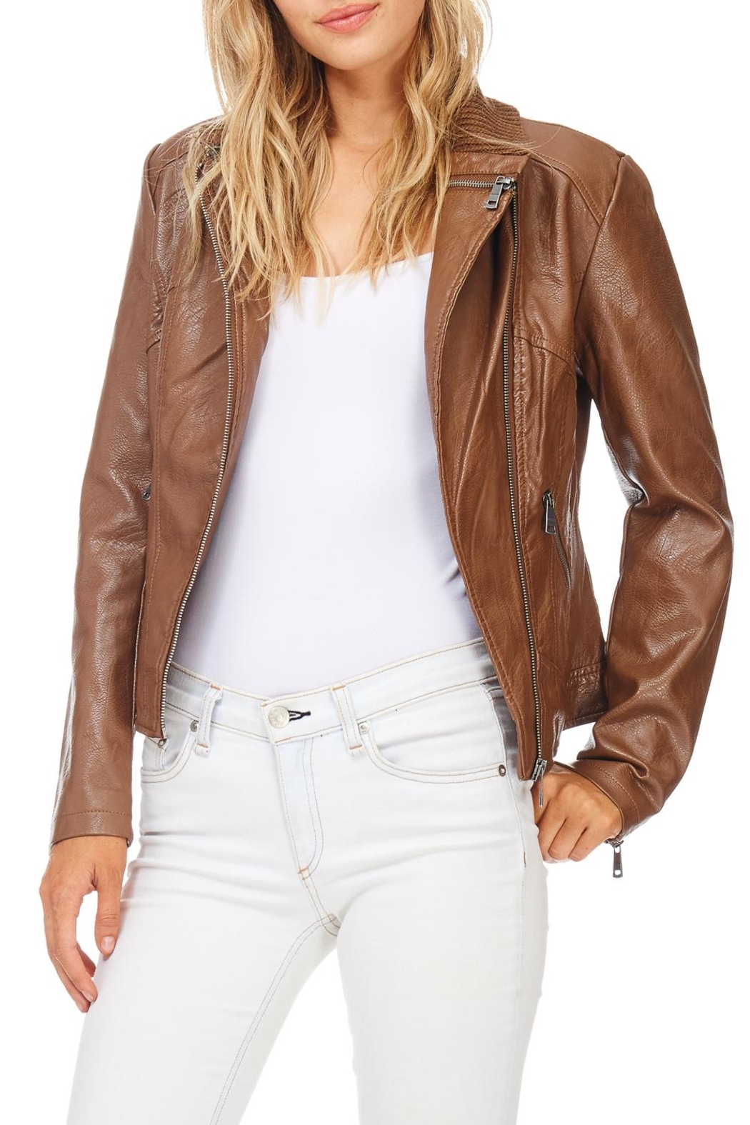 Coalition Downtown Moto Faux Leather Jacket - Side Cropped Image