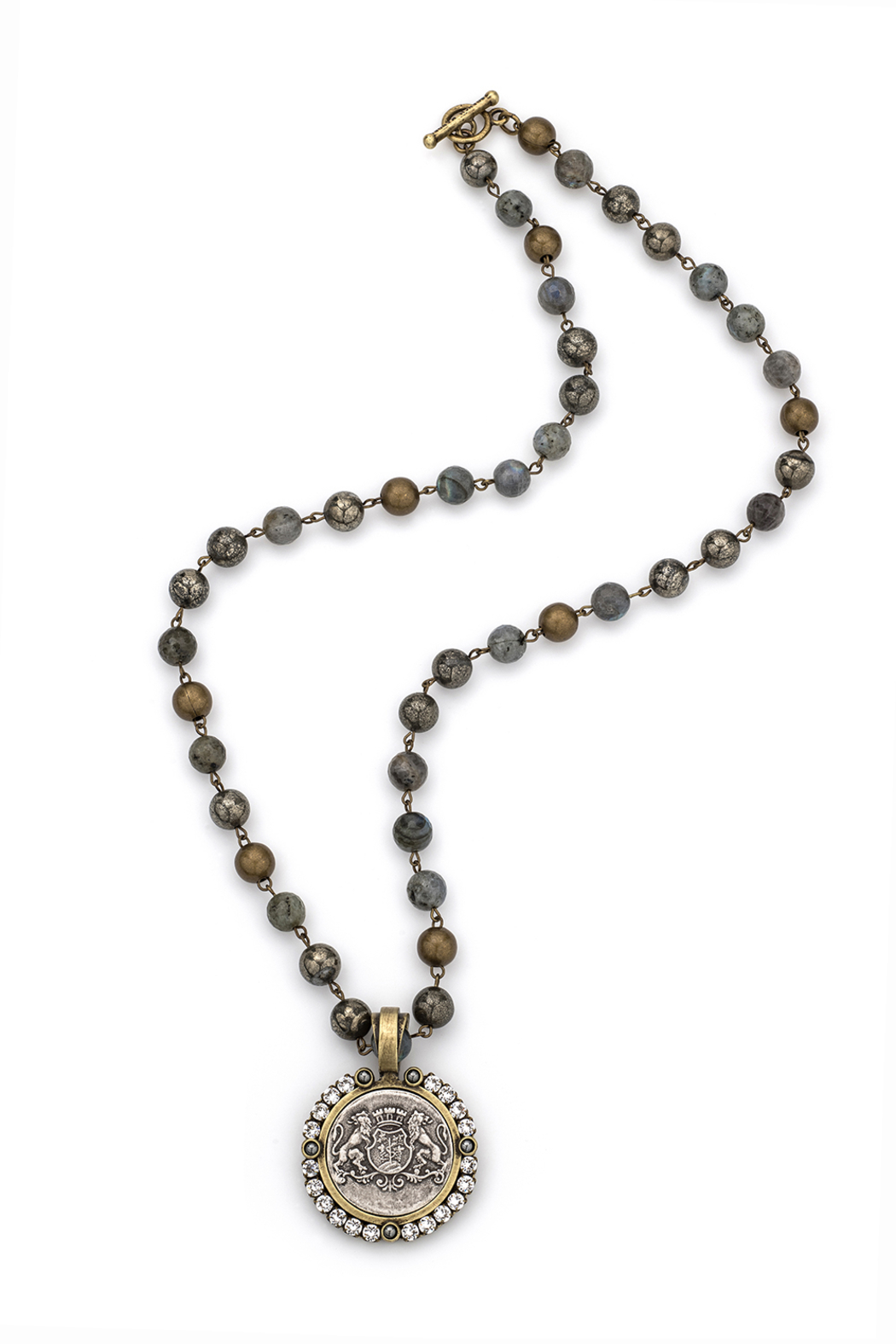 French Kande COASTAL MIX Necklace WITH BRASS WIRE, AIME MEDALLION AND SWAROVSKI - Main Image