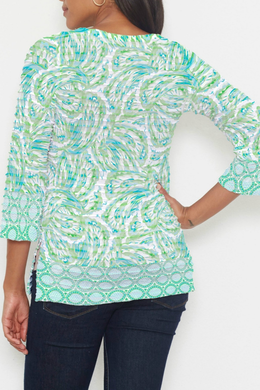 Whimsy Rose Coastal Paisley Lace Green 3/4 T - Front Full Image