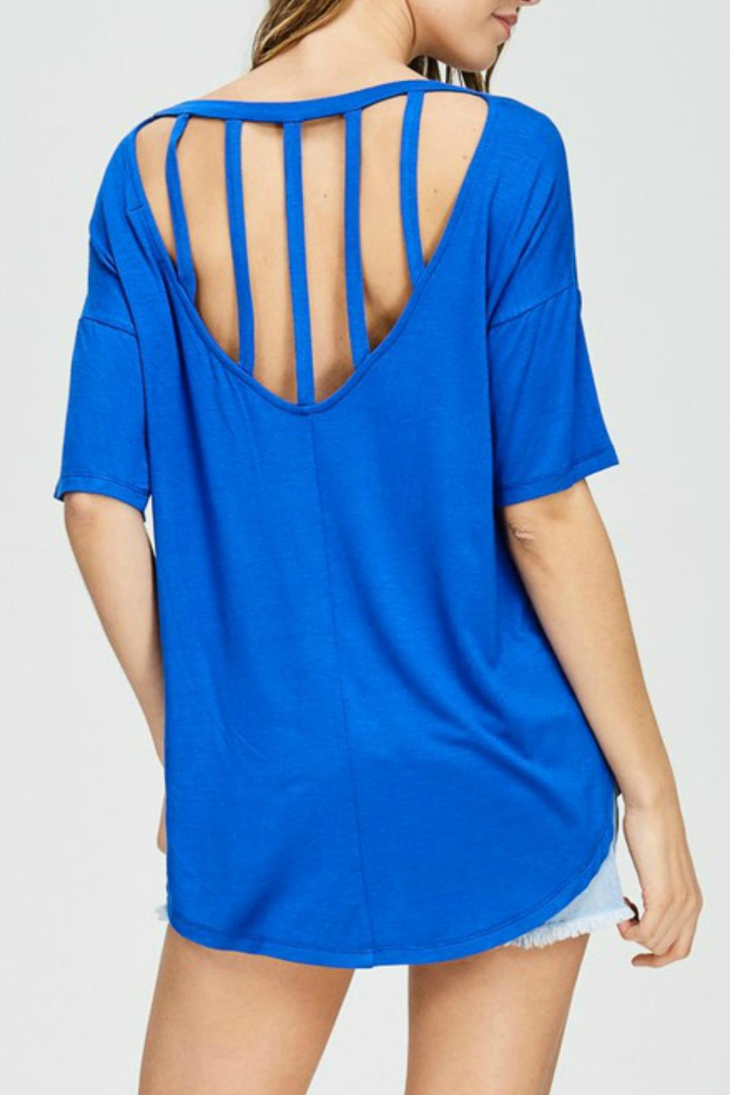 Cherish Cobalt Blue Top - Front Cropped Image