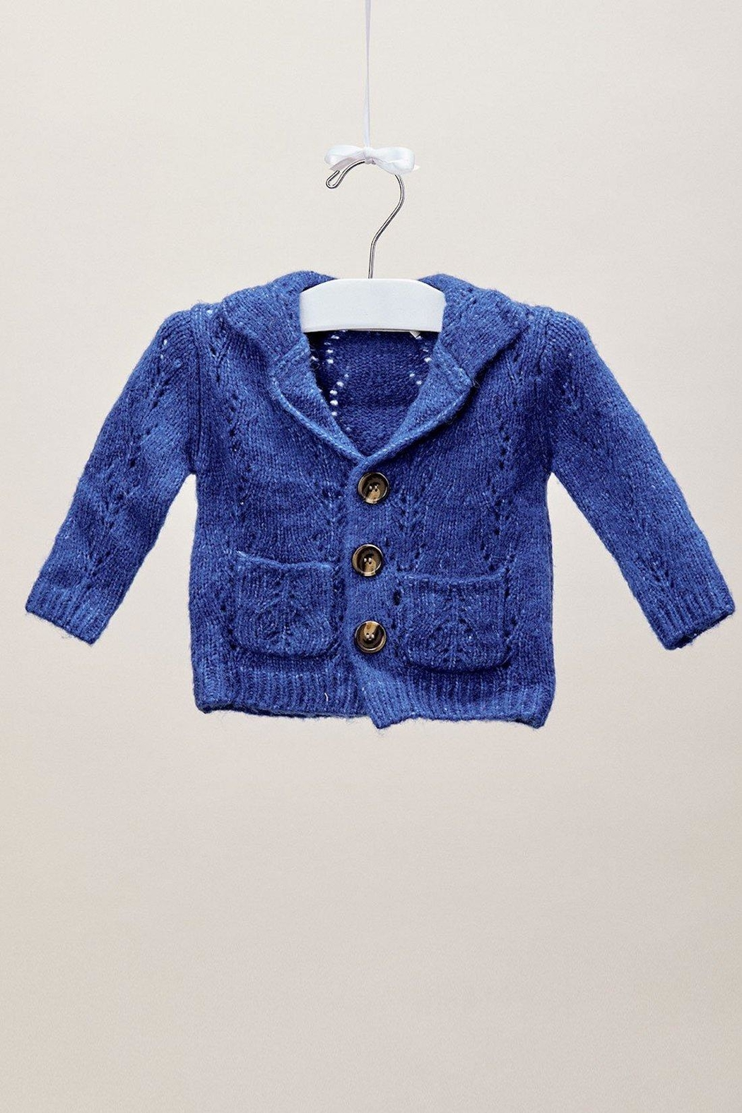 Lil Lemons Cobalt Button Cardigan - Front Full Image