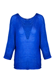 M made in Italy Cobalt Open Knit Batwing Sweater - Product Mini Image