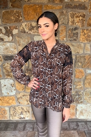 Single Cobra Tie Front Blouse w Lace - Product Mini Image