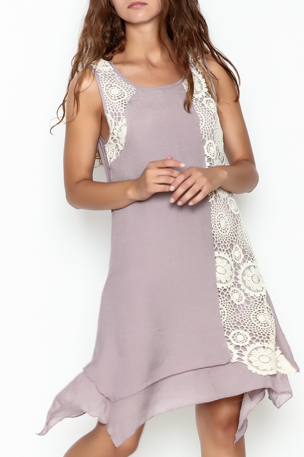 Coco + Carmen Crochet Overlay Dress - Front Cropped Image