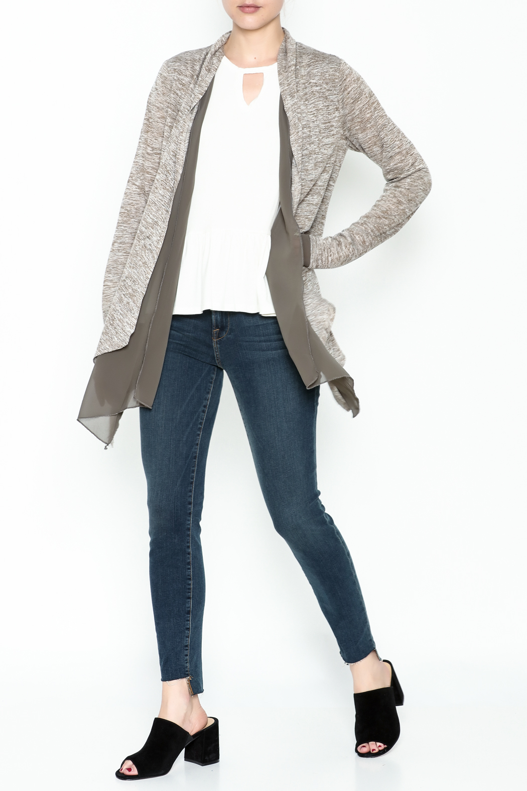 Coco + Carmen Double Layer Cardigan - Side Cropped Image