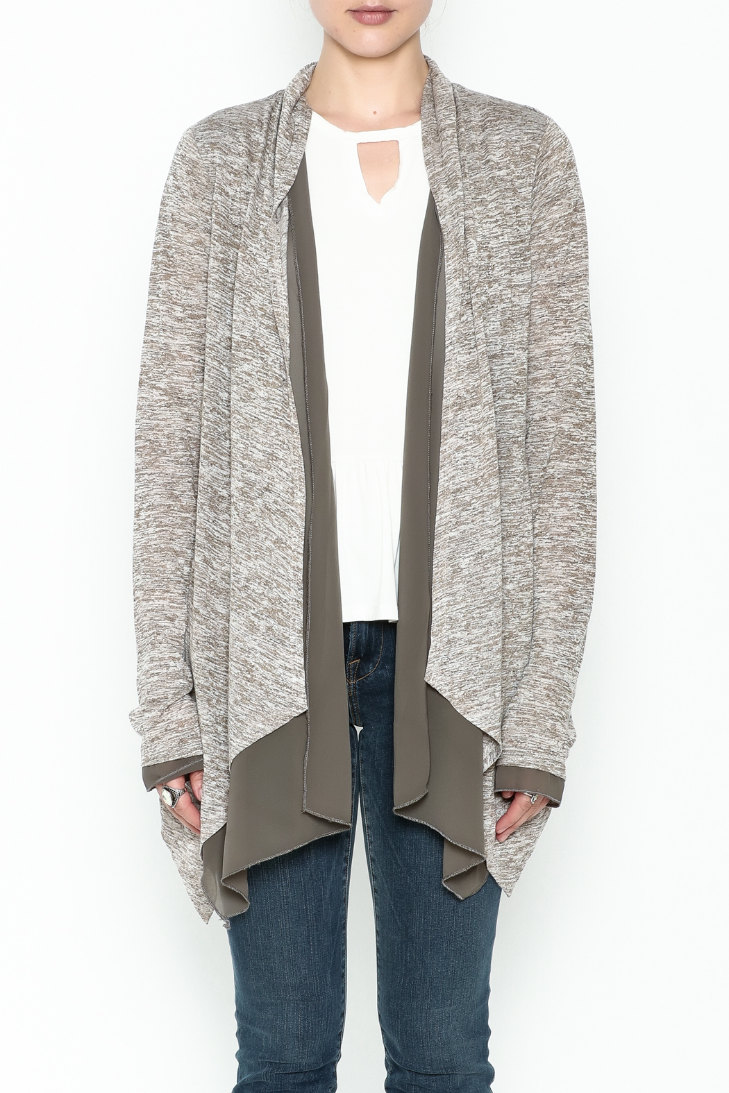 Coco + Carmen Double Layer Cardigan - Front Full Image