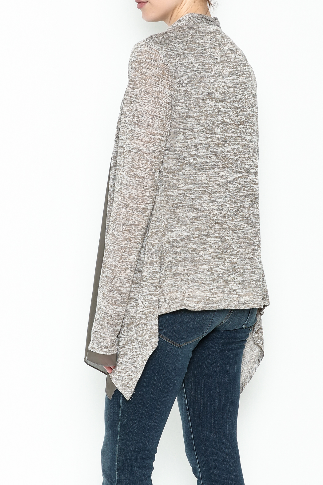 Coco + Carmen Double Layer Cardigan - Back Cropped Image