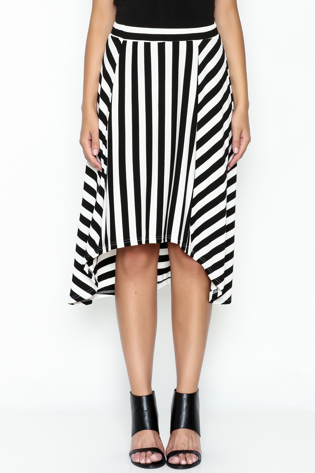 Coco + Carmen Striped Hi Low Skirt - Front Full Image