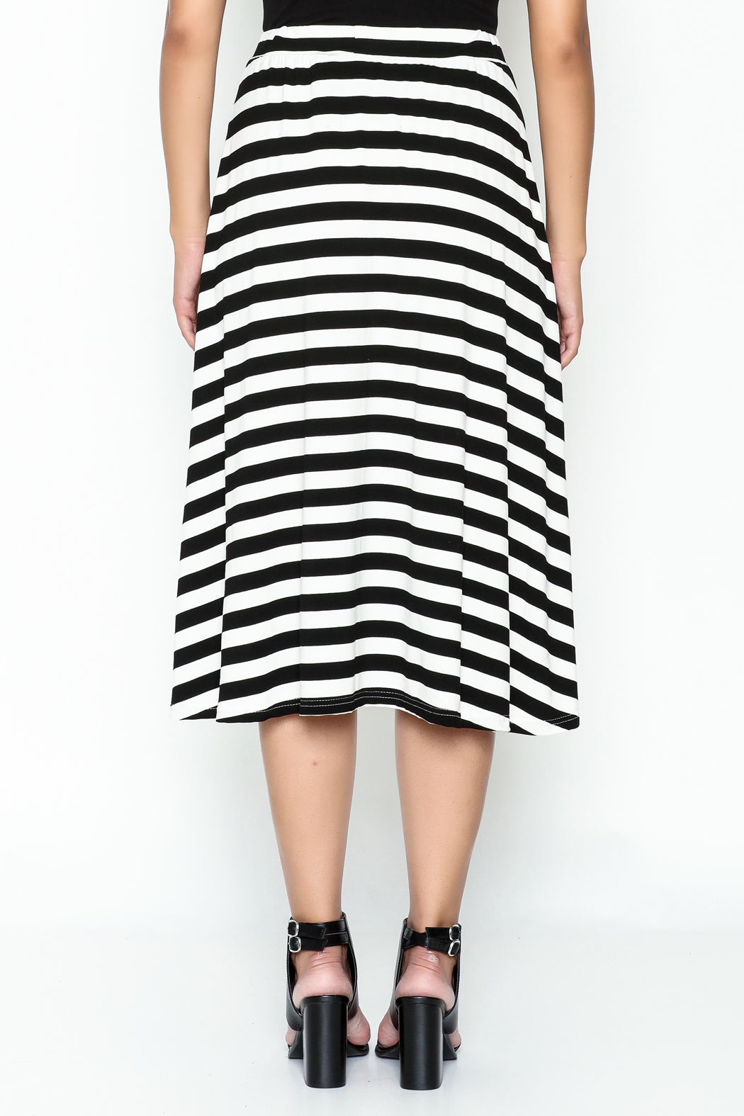 Coco + Carmen Striped Hi Low Skirt - Back Cropped Image