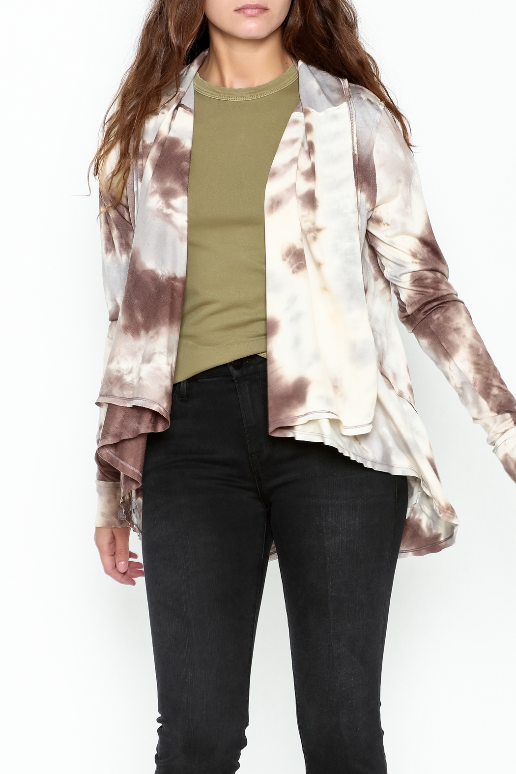Coco + Carmen Tie Dye Cardigan - Front Cropped Image
