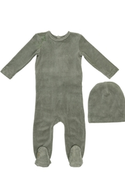 Coco Blanc Velour Footie with Matching Hat - Product Mini Image
