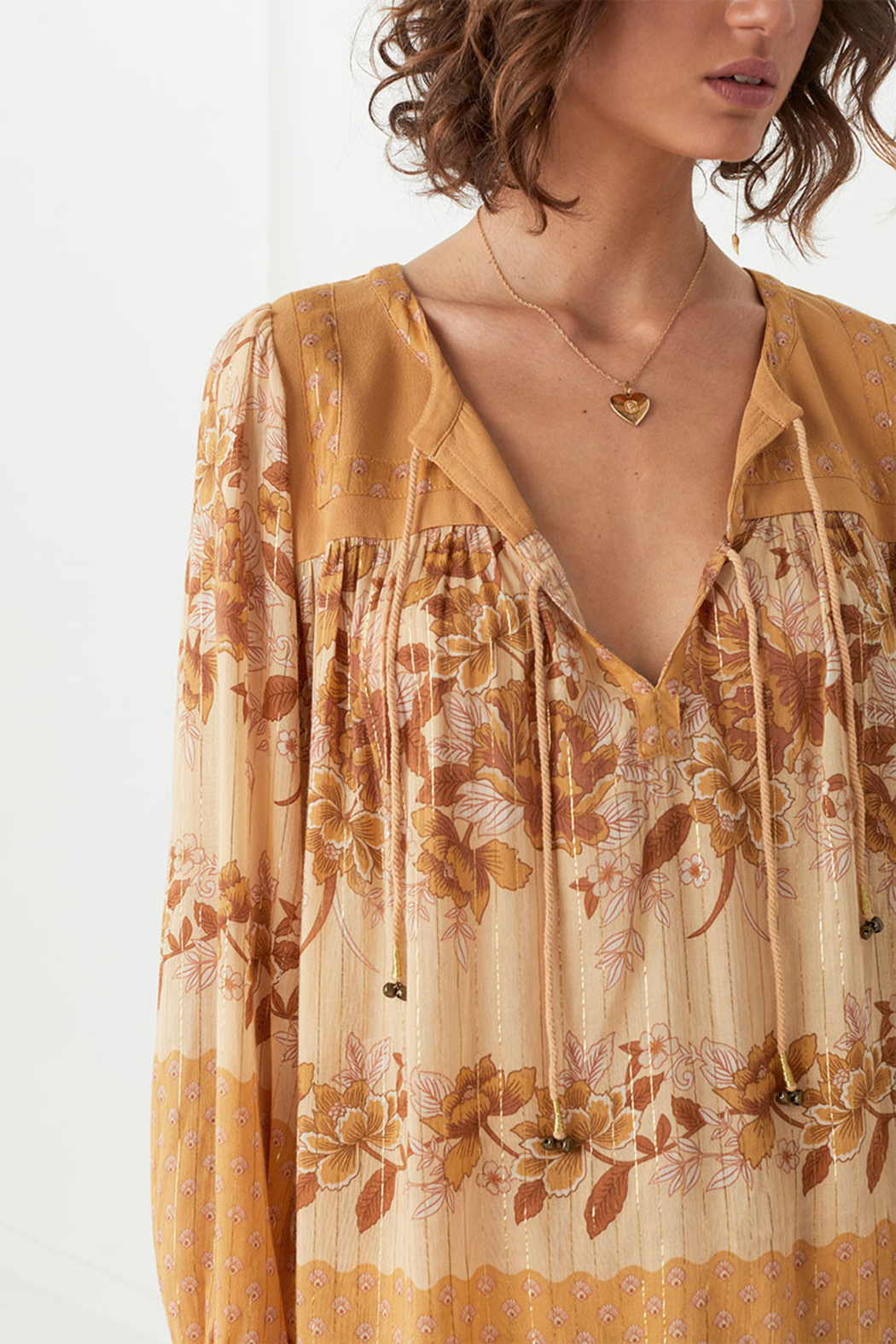 Spell & the Gypsy Collective Coco Lei Blouse in Caramel - Front Full Image