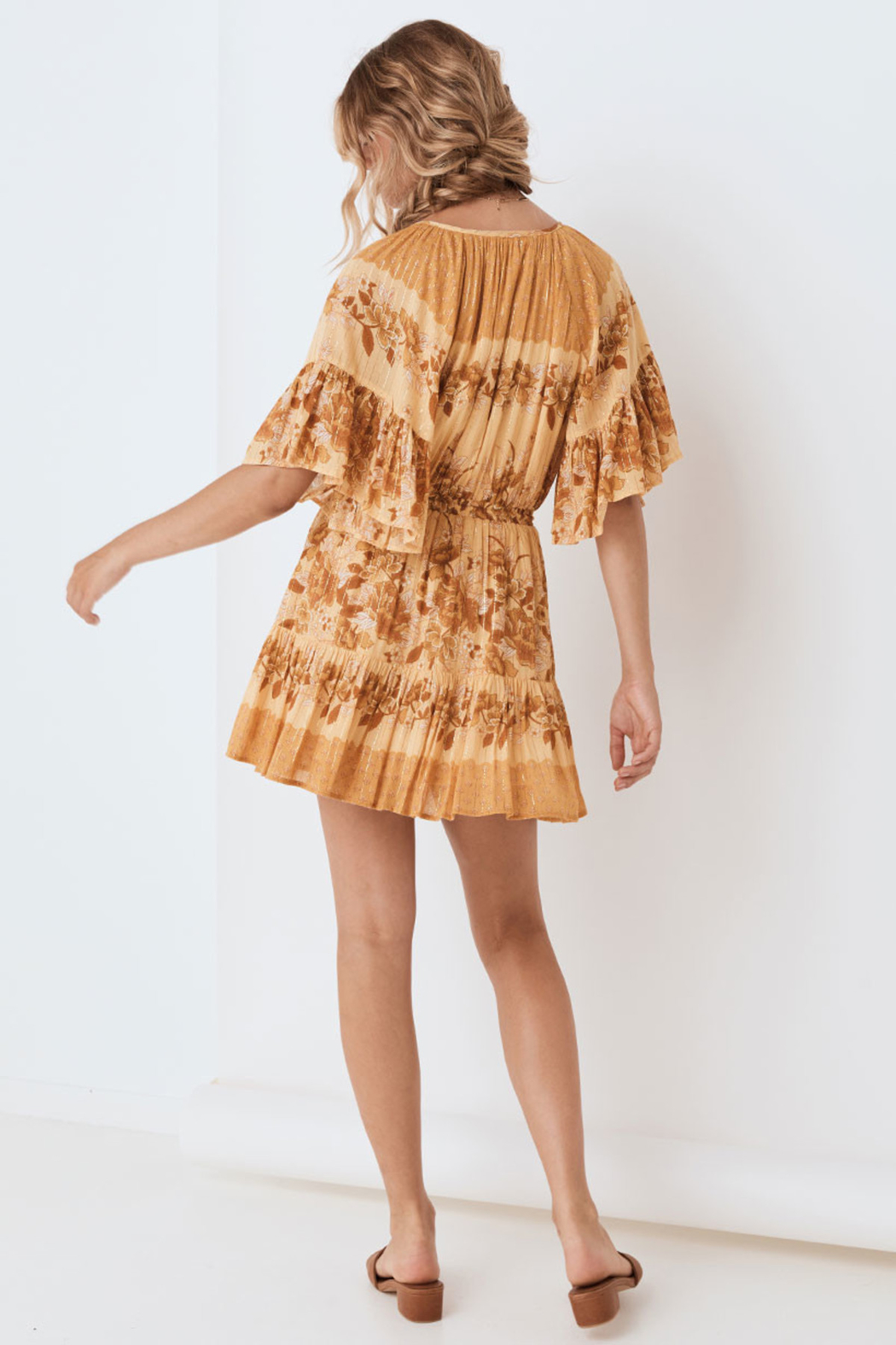 Spell & the Gypsy Collective Coco Lei Flutter Sleeve Playdress in Caramel - Back Cropped Image