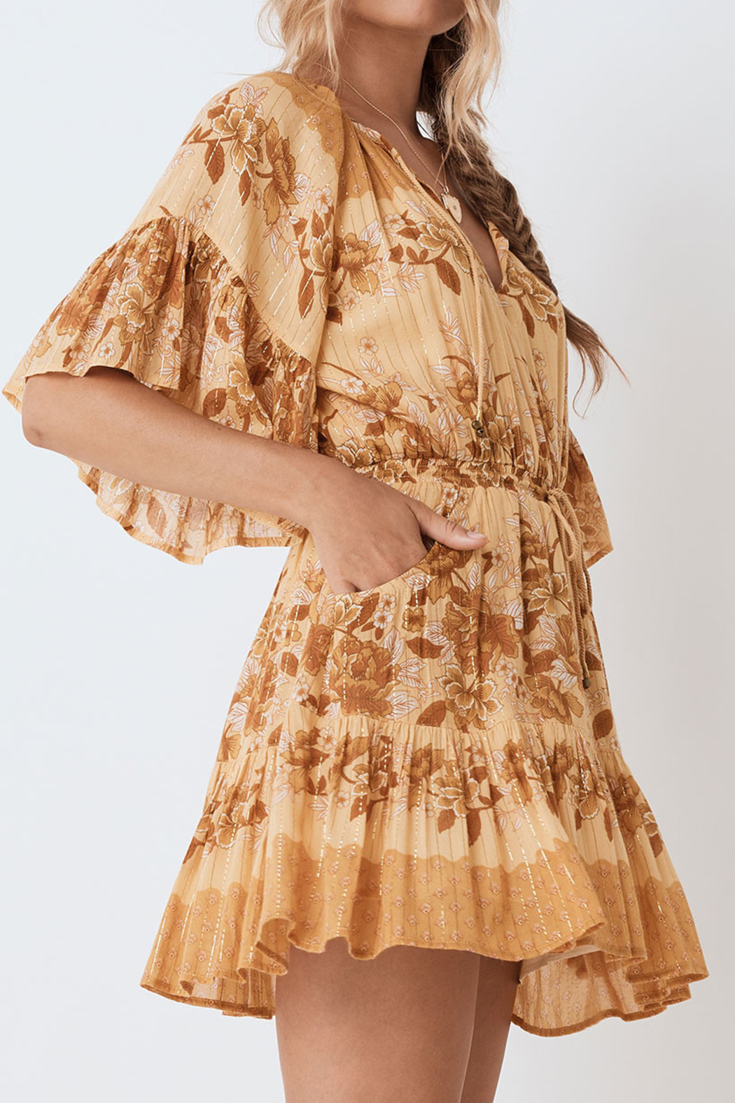 Spell & the Gypsy Collective Coco Lei Flutter Sleeve Playdress in Caramel - Side Cropped Image
