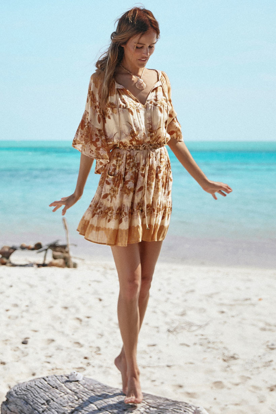 Spell & the Gypsy Collective Coco Lei Flutter Sleeve Playdress in Caramel - Main Image