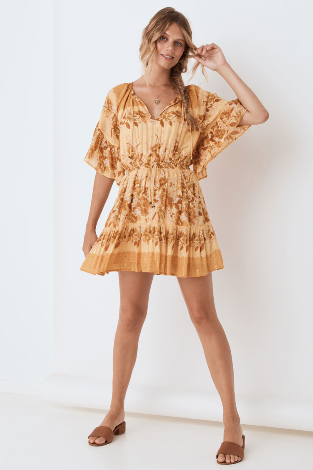 Spell & the Gypsy Collective Coco Lei Flutter Sleeve Playdress in Caramel - Front Full Image