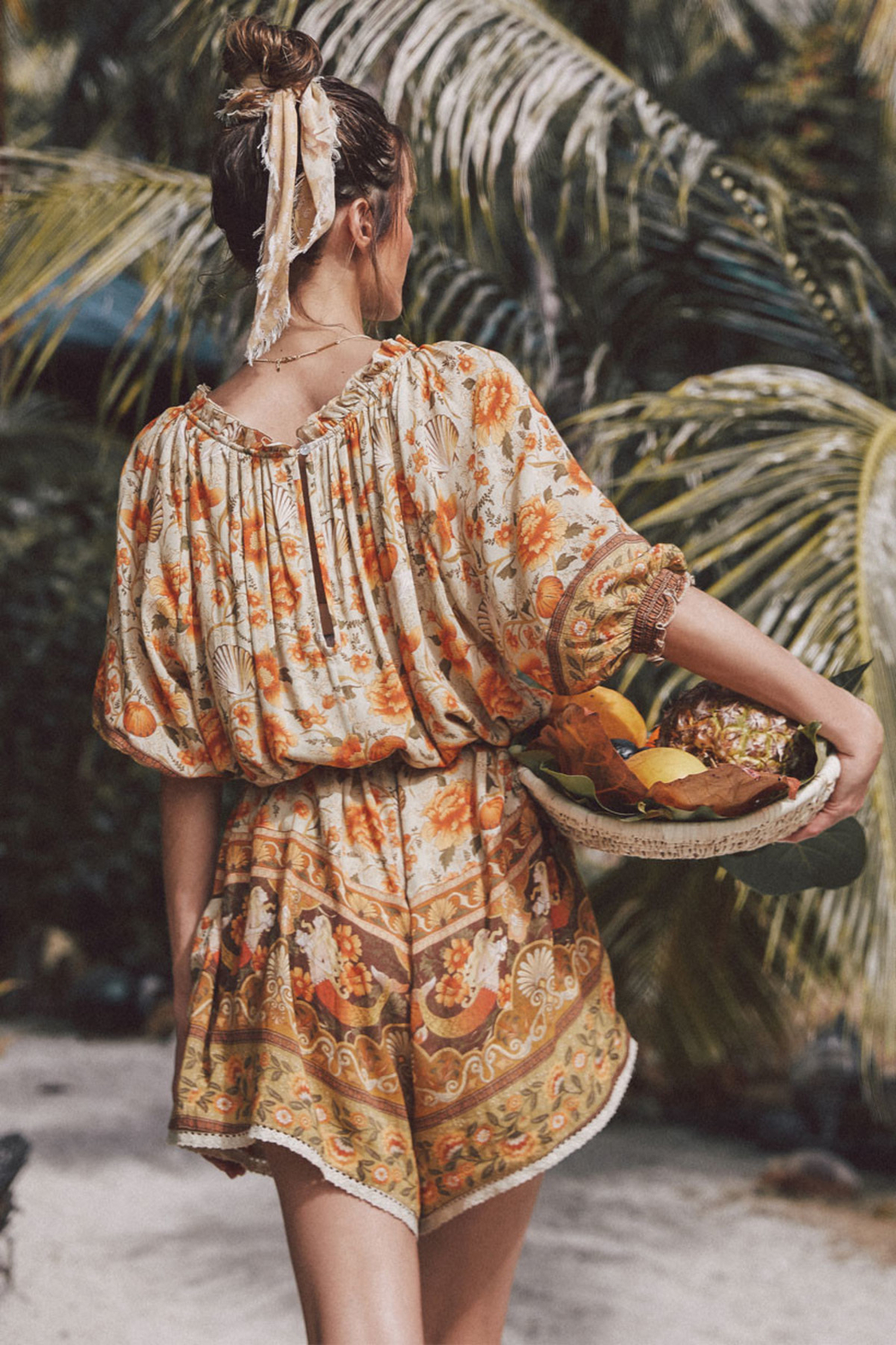 Spell & the Gypsy Collective Coco Lei Head Scarf in Caramel - Back Cropped Image