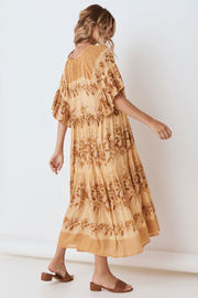 Spell & the Gypsy Collective Coco Lei Mumu in Caramel - Back cropped