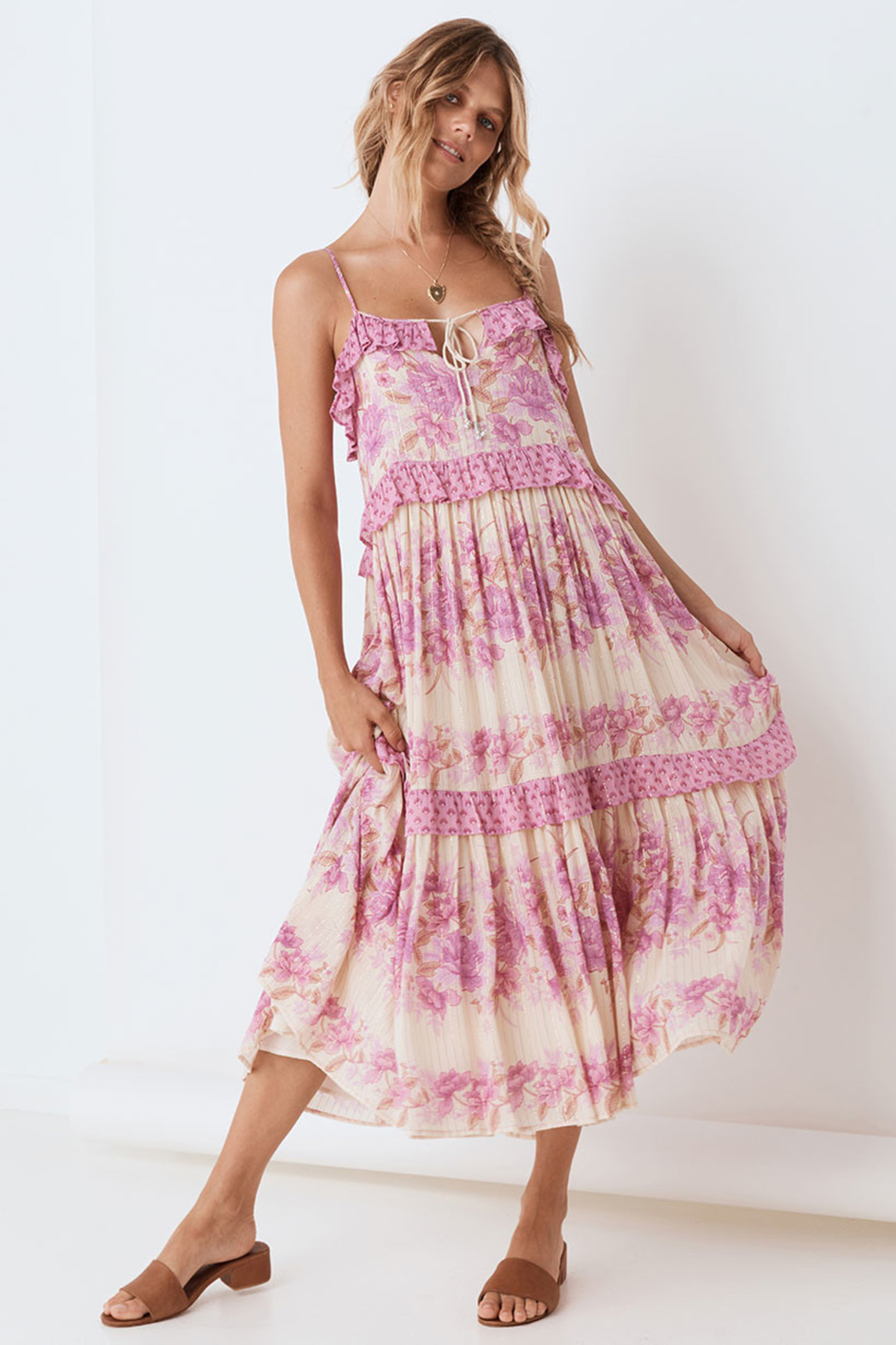 Spell & the Gypsy Collective Coco Lei Strappy Gown in Lilac - Main Image
