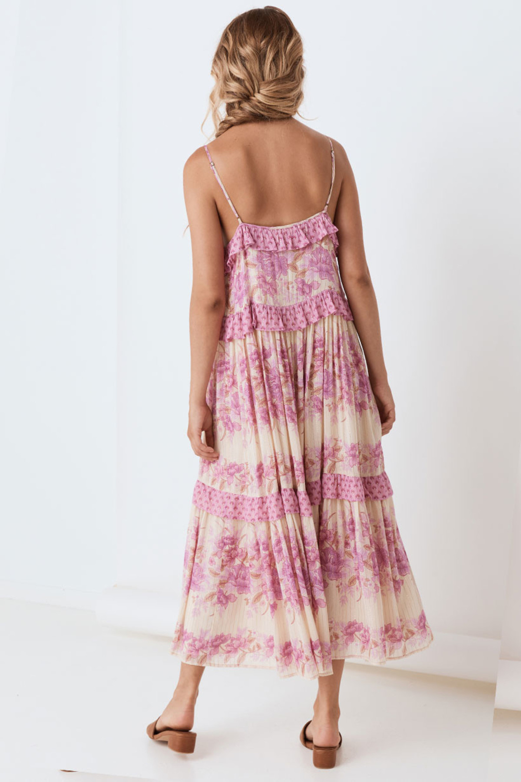 Spell & the Gypsy Collective Coco Lei Strappy Gown in Lilac - Back Cropped Image