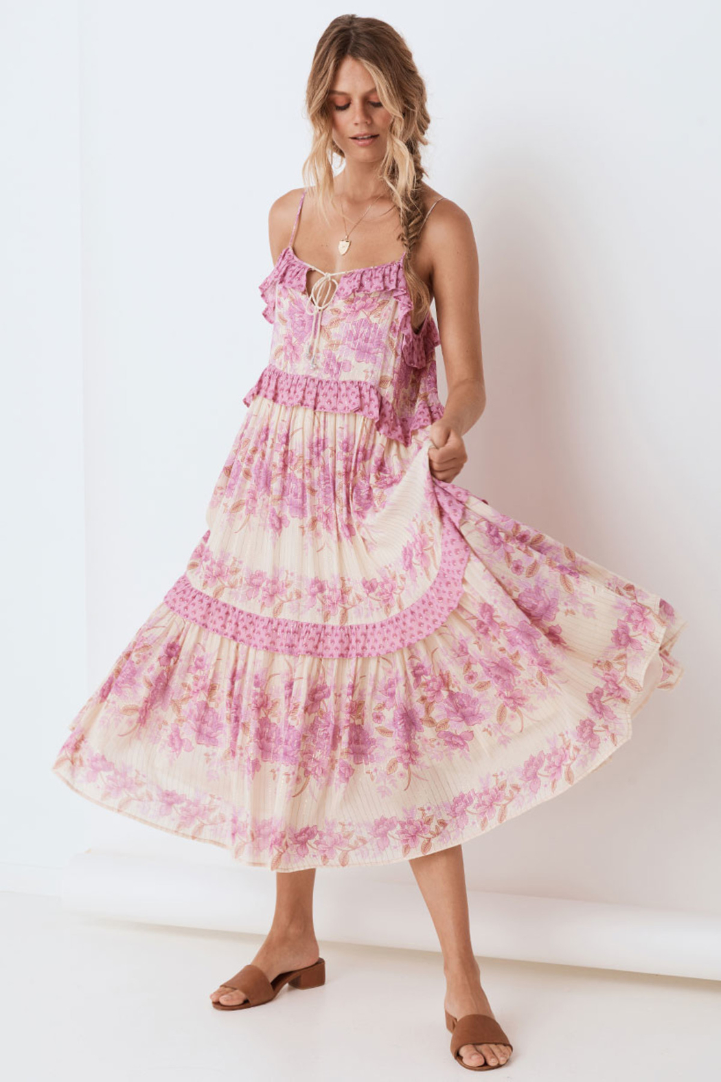 Spell & the Gypsy Collective Coco Lei Strappy Gown in Lilac - Front Full Image