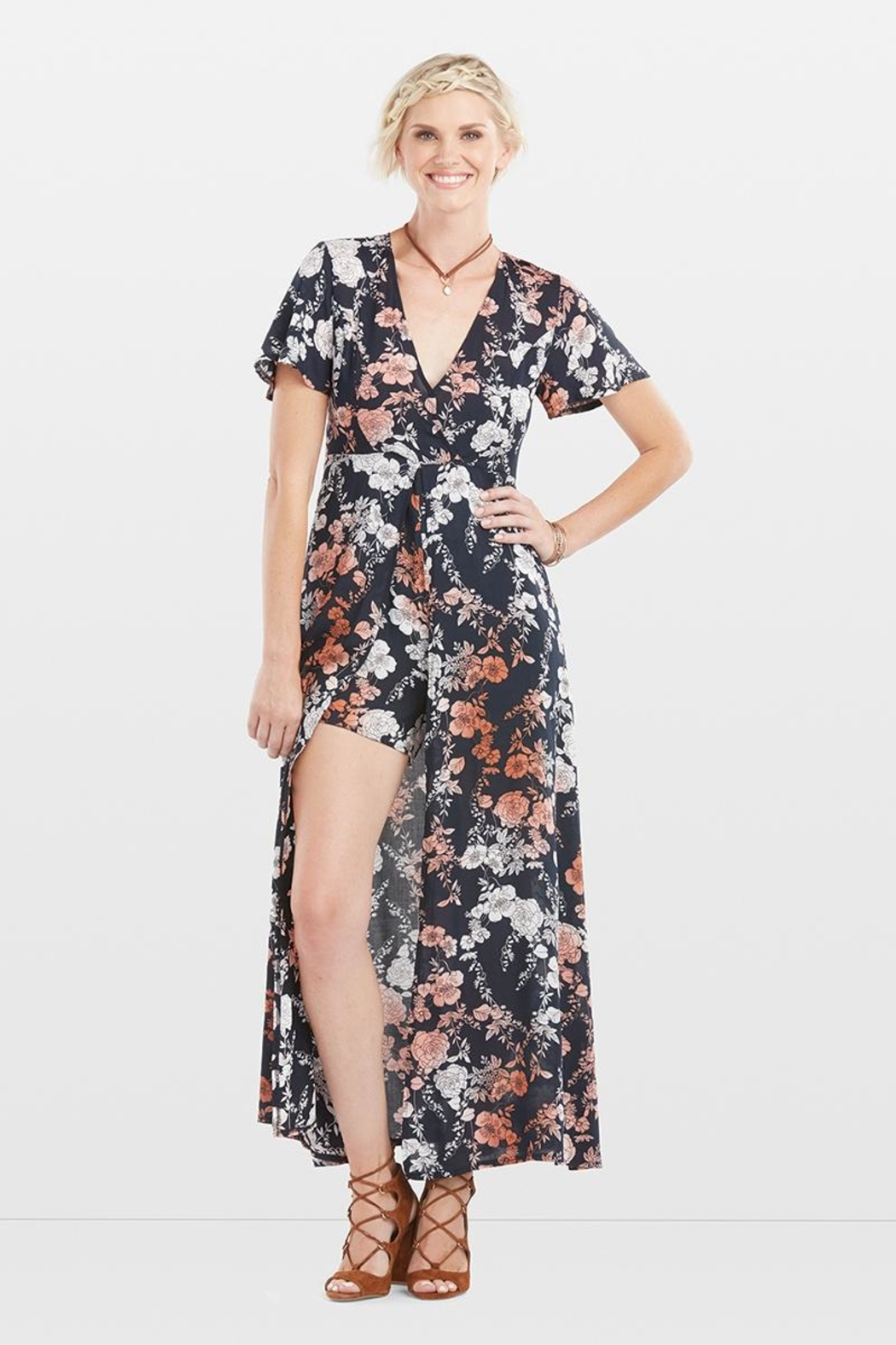 Coco + Carmen Adele Skirted Romper - Front Cropped Image
