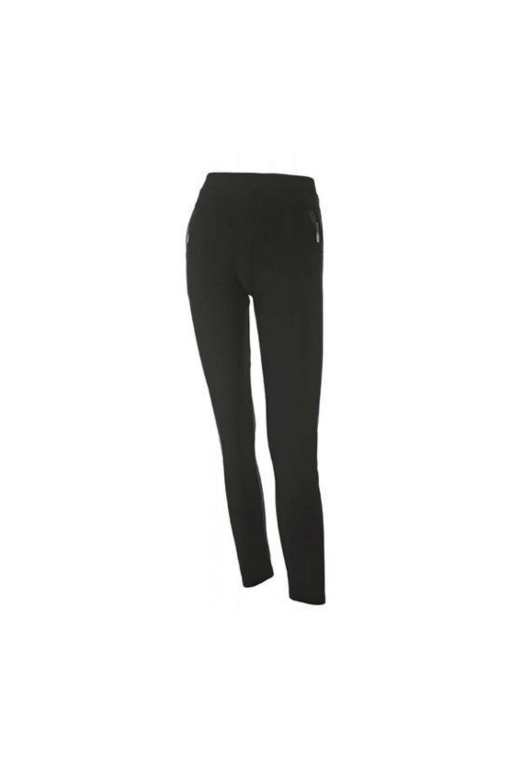Coco + Carmen Black Zip Leggings - Front Cropped Image